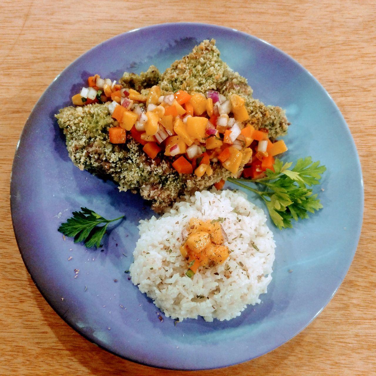 Chutney Chops with Coconut Rice and Mango Salsa