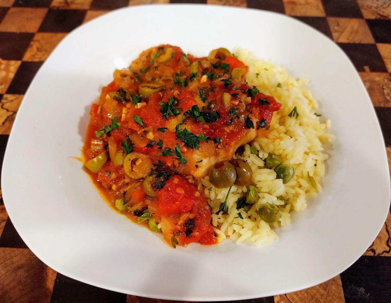 Olive Chicken with Saffron Rice